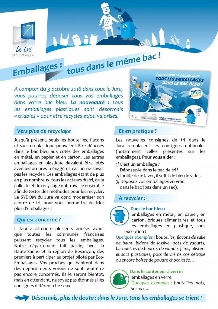 SYDOM du Jura - Emballages bac bleu