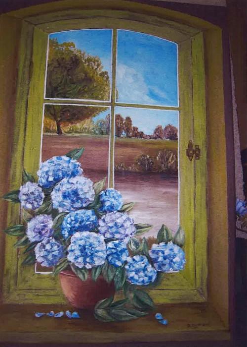 Les Hortensias - huile © A. Aymard