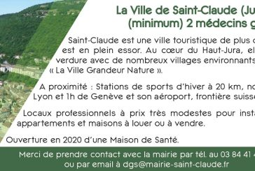 La Ville de Saint-Claude recherche (minimum) 2 médecins généralistes