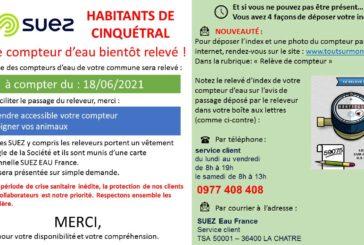 Cinquétral / Valfin-lès-Saint-Claude : votre compteur d'eau bientôt relevé
